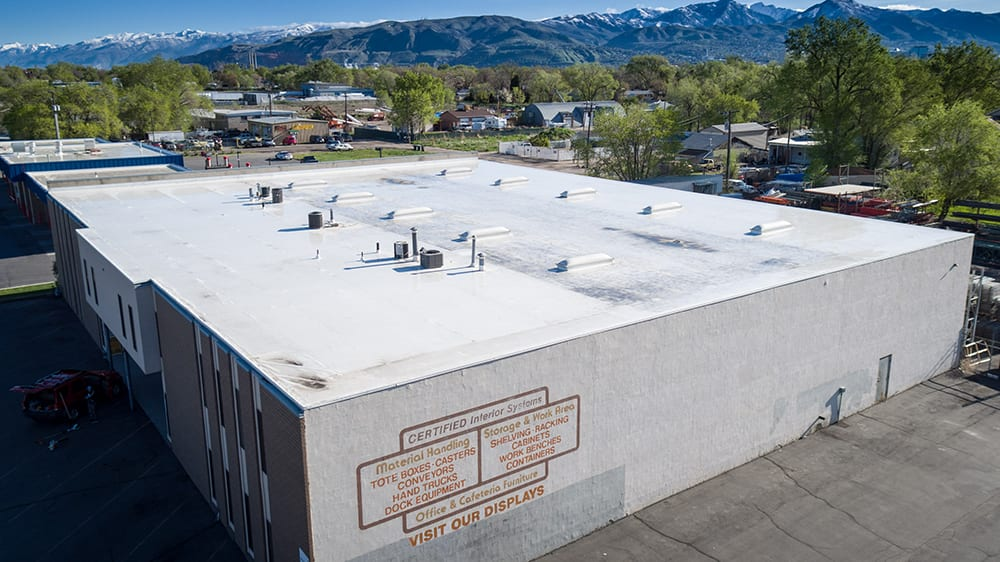 Roof on a commercial warehouse building in Salt Lake City, Utah.